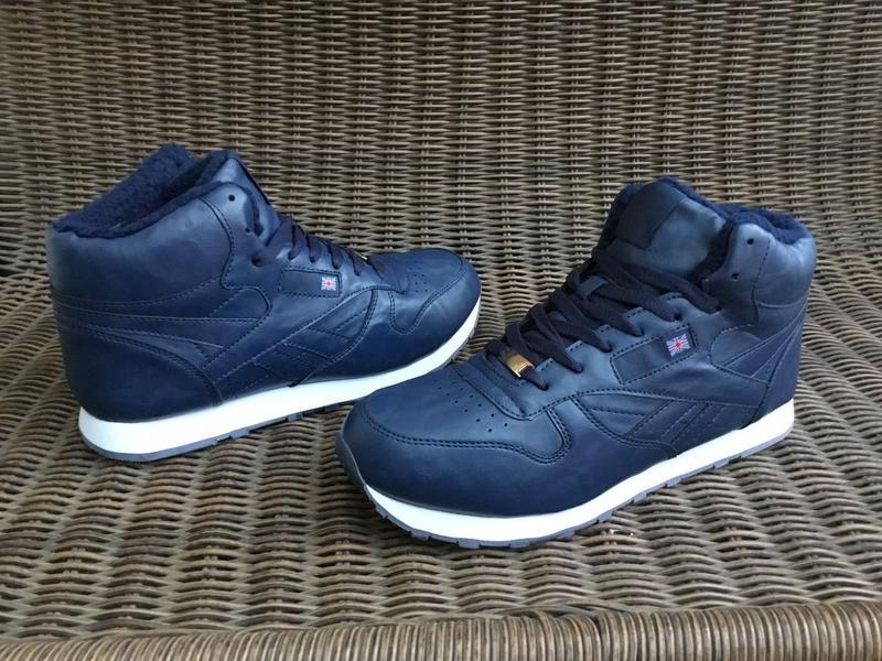 41-46 рр зимние синие кроссовки на меху теплые ботинки мужские... - Фото 2