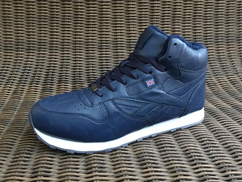 41-46 рр зимние синие кроссовки на меху теплые ботинки мужские... - Фото 3