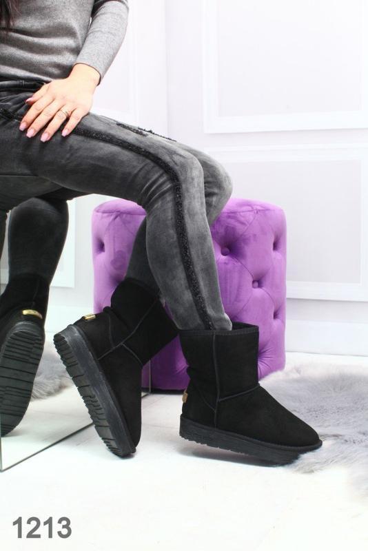Sale 36-42р натуральные замшевые угги женские черные низкие за...