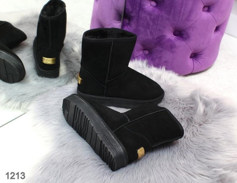 Sale 36-42р натуральные замшевые угги женские черные низкие за... - Фото 4