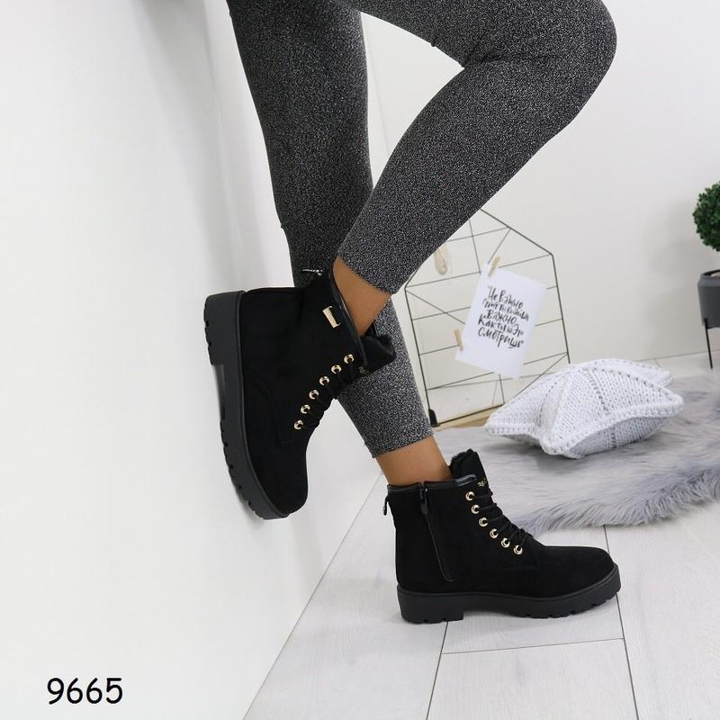 36-41 рр черные женские ботинки с мехом