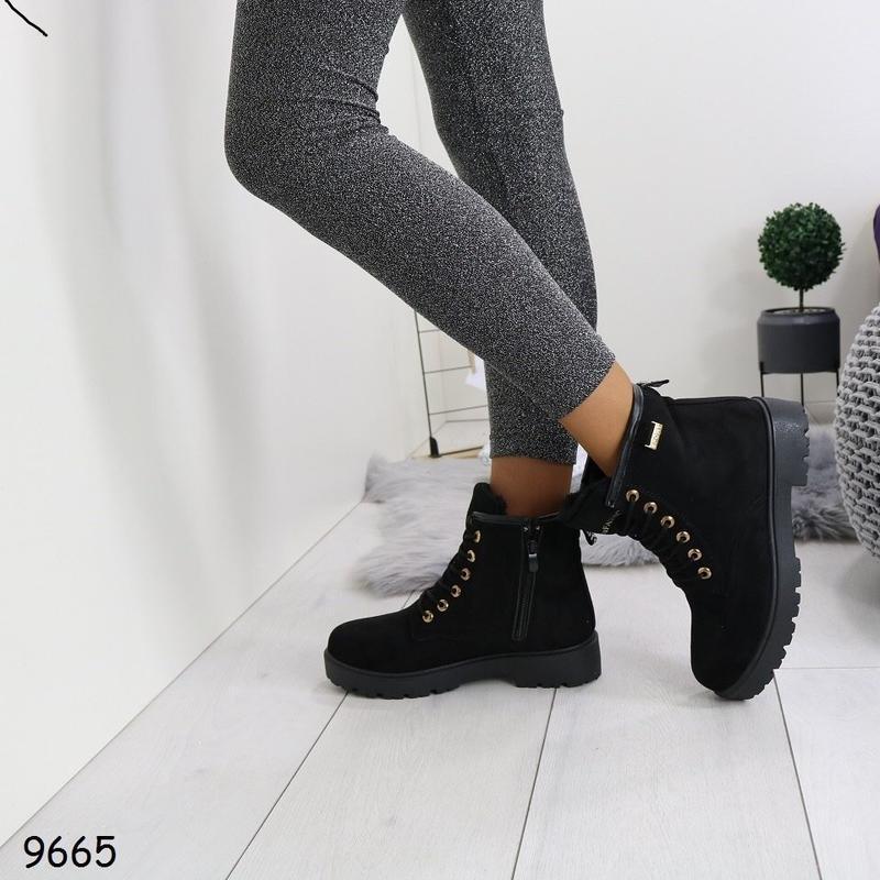 36-41 рр черные женские ботинки с мехом - Фото 3