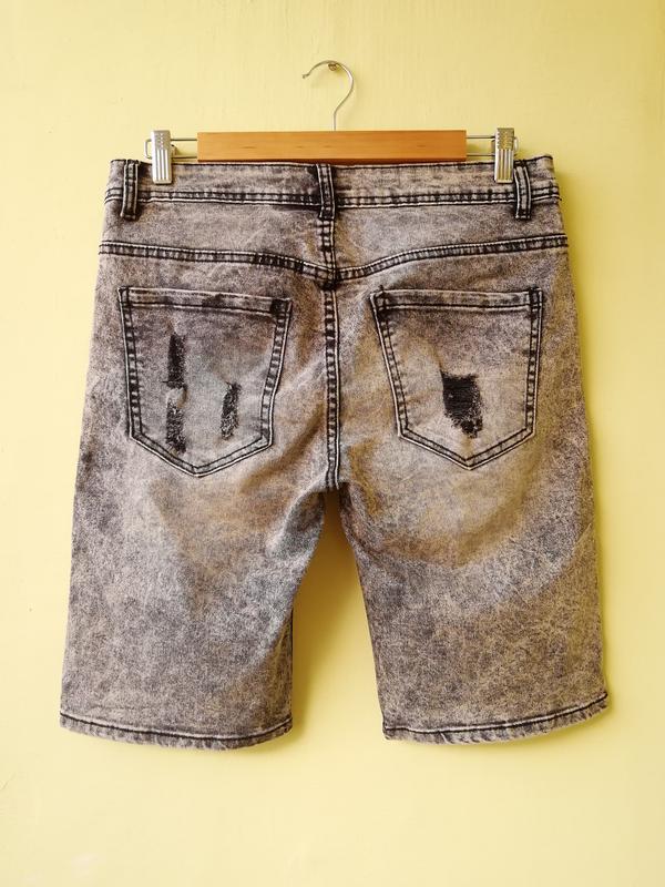 Шорты мужские джинсовые jack berry с дырками бриджи - Фото 2