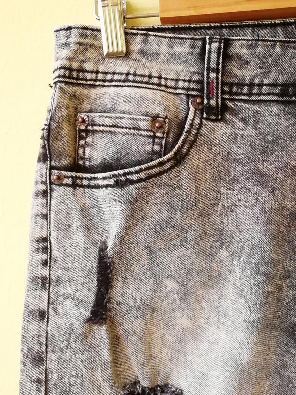 Шорты мужские джинсовые jack berry с дырками бриджи - Фото 3