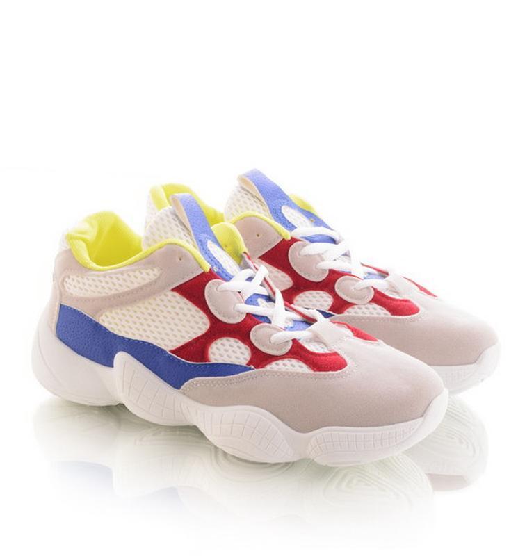 Тренд весны! белые яркие кроссовки кеды!yzy 500! - Фото 4