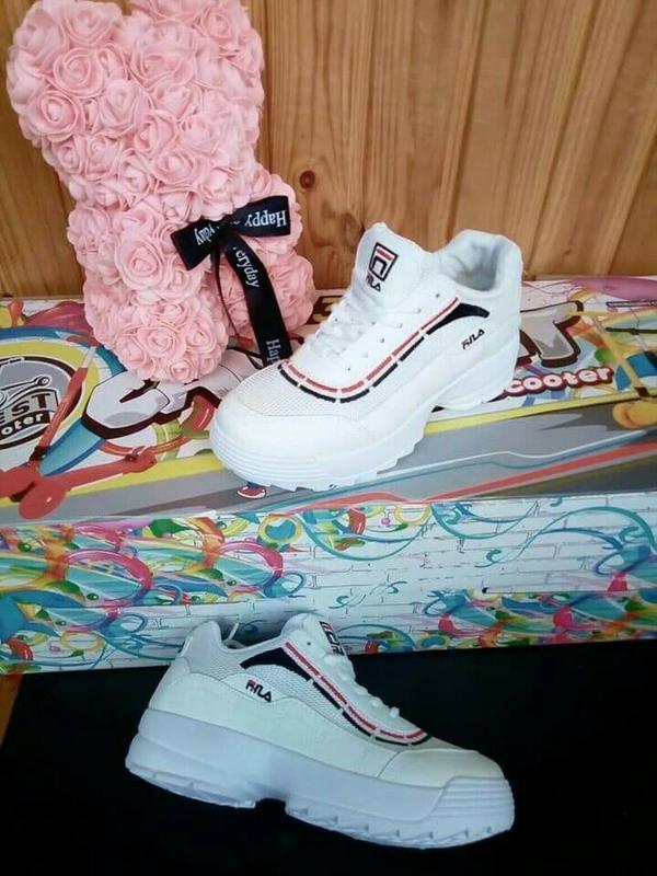 Белые филы кроссовки кеды!летние!дышащие! - Фото 4