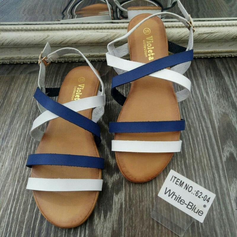 Босоножки! сандали с переплетами!белые !синие