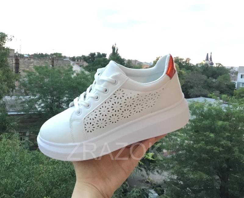 Белые кеды в стиле alexander mcqueen,белые летние кроссовки на... - Фото 2