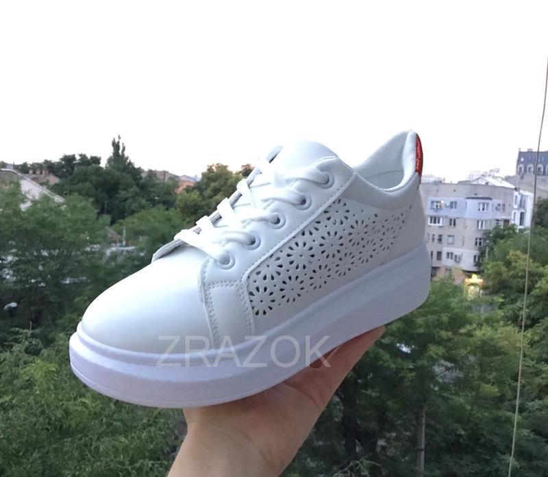 Белые кеды в стиле alexander mcqueen,белые летние кроссовки на... - Фото 5