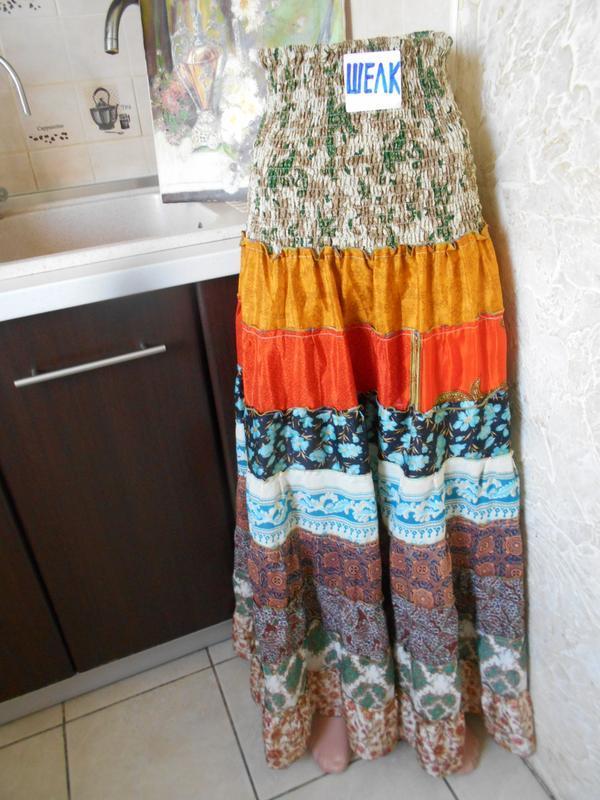 #цветастая индийская широкая юбка в пол из шелка #юбка воланы # - Фото 2