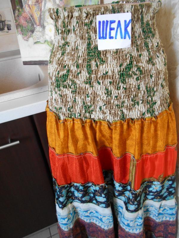 #цветастая индийская широкая юбка в пол из шелка #юбка воланы # - Фото 3