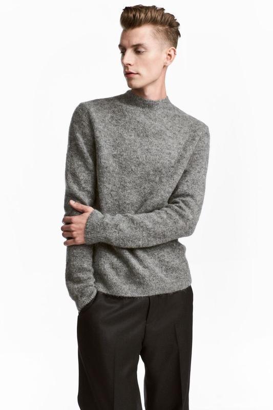Серый свитер h&m premium quality из смесового мохера ! - Фото 2