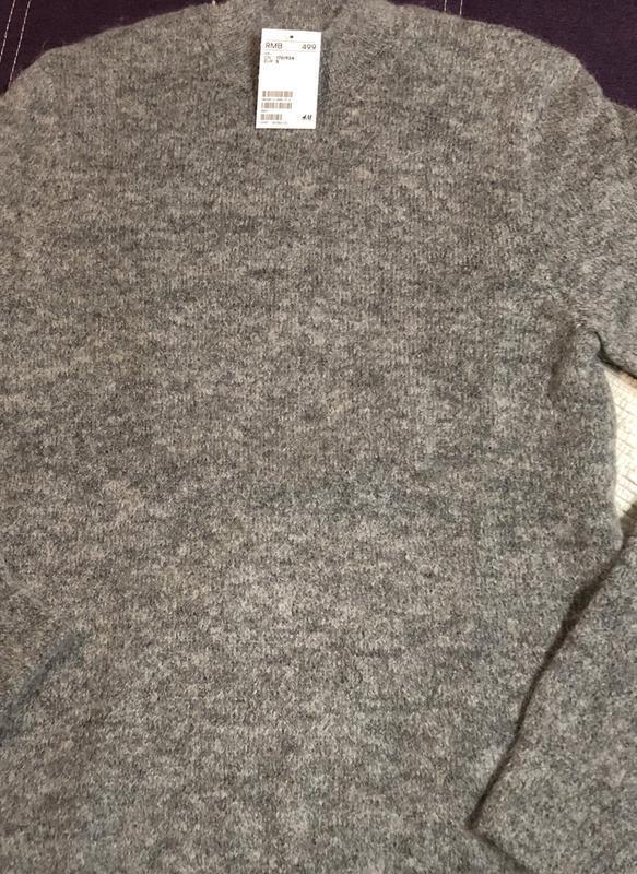 Серый свитер h&m premium quality из смесового мохера ! - Фото 5
