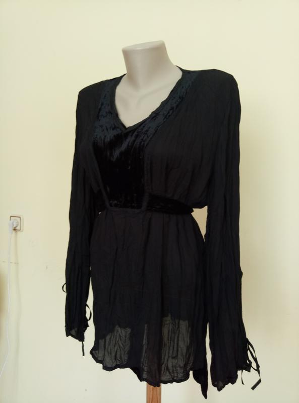 Красивая блузочка с бархатной вставкой - Фото 4