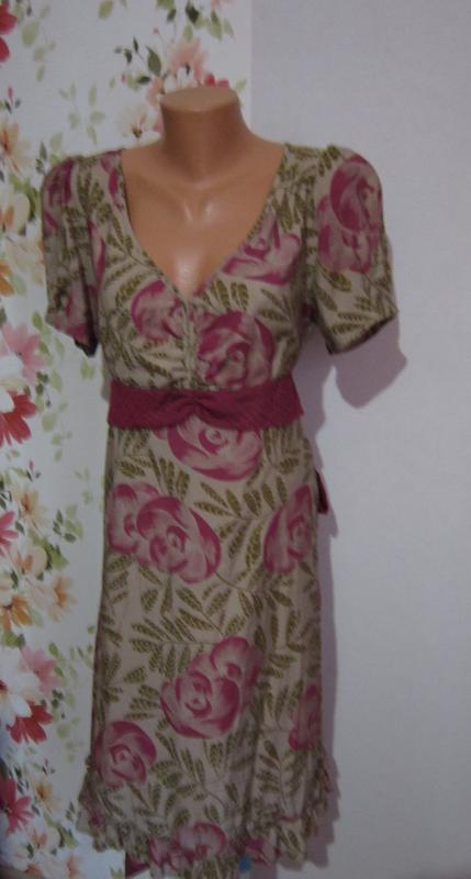 Винтажное платье цветочный принт оборки пояс
