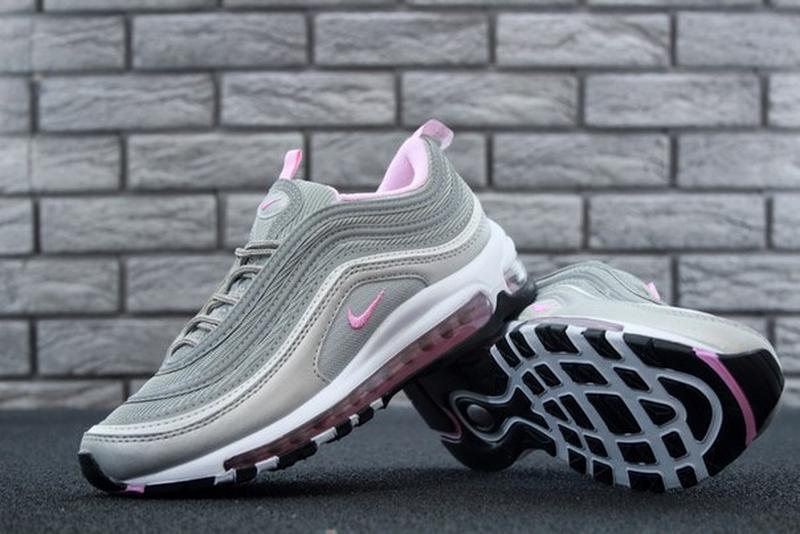 Женские кроссовки nike air max 97 gray pink.