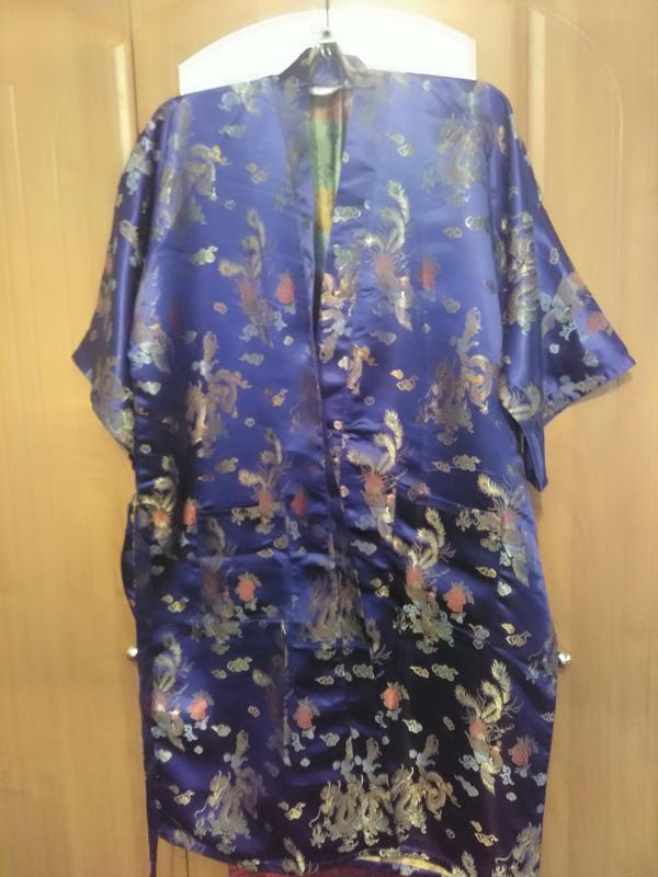 Роскошный атласный халат - кимоно - Фото 2