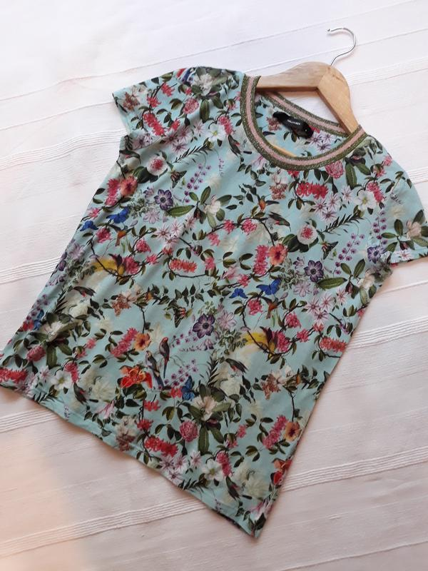 Hallhuber фирменная футболка#топ#блуза#майка в цветы#цветочный...