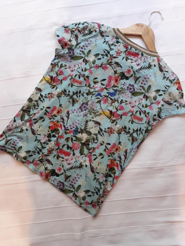 Hallhuber фирменная футболка#топ#блуза#майка в цветы#цветочный... - Фото 5