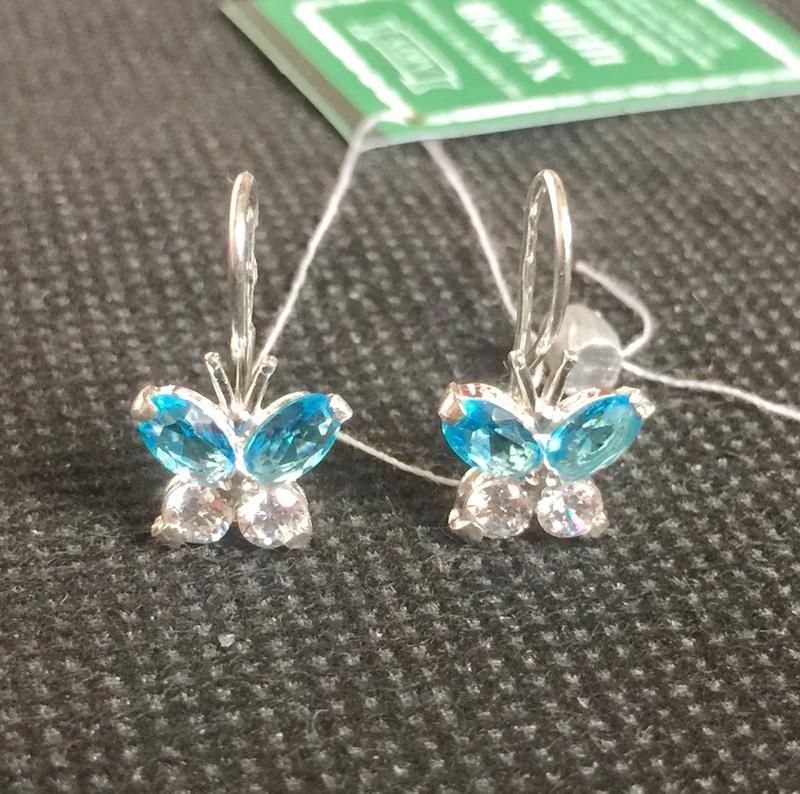 Новые красивые серебряные серьги бабочка петля серебро 925 пробы
