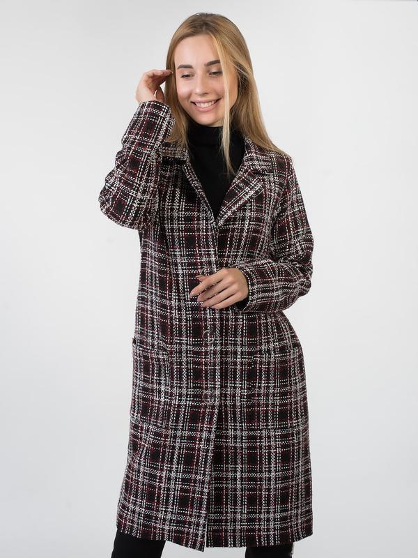 Осеннее пальто женское в клетку - Фото 3