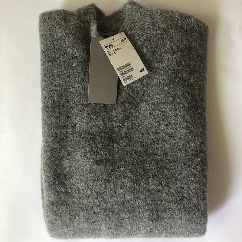 Серый свитер h&m premium quality из смесового мохера ! - Фото 4