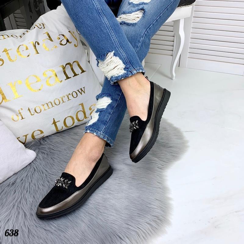 Стильные туфли лоферы балетки с камнями качество люкс