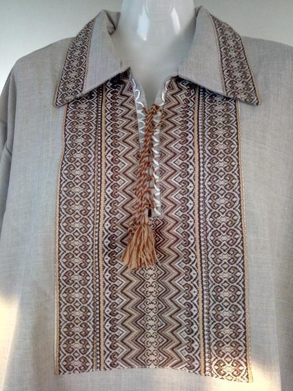 Мужская вышиванка лен,размер 56 - Фото 2