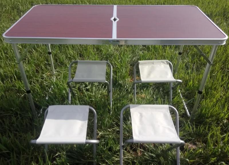 Стол алюминиевый раскладной для пикника + 4 стула, чемодан - Фото 2