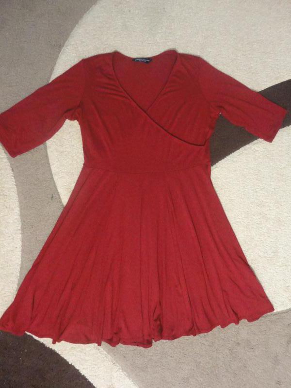 Трикотажное платье марсала - Фото 3