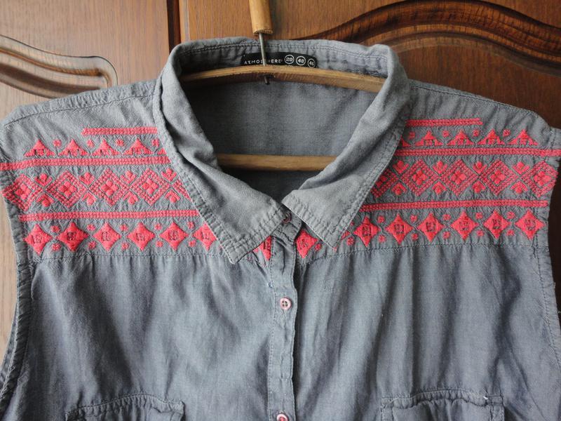 Джинсовая блуза размер 20 - Фото 2