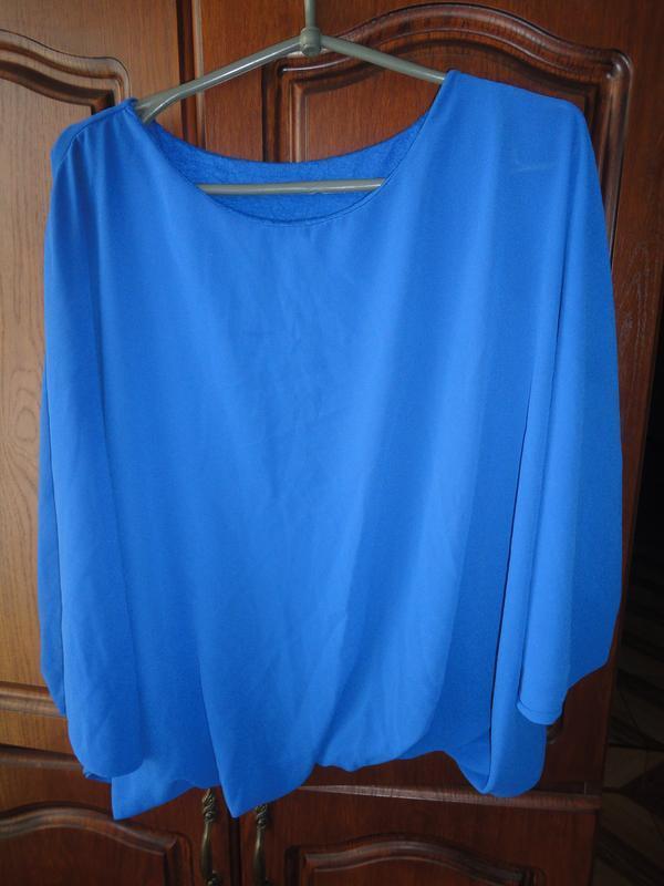 Свободная блуза цвета электрик - Фото 2