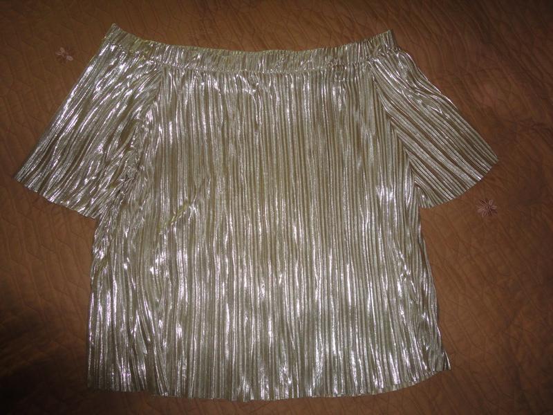 Золотистая блуза гофре - Фото 2