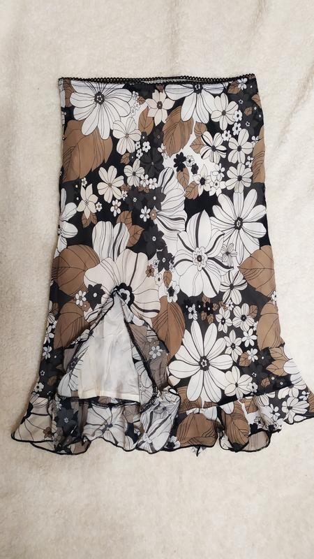 Спідниця з розрізом з воланами у квіти № 49 - Фото 2