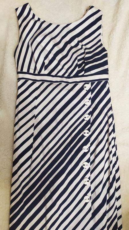 Плаття в полоску з асиметричними гудзиками № 79 - Фото 2