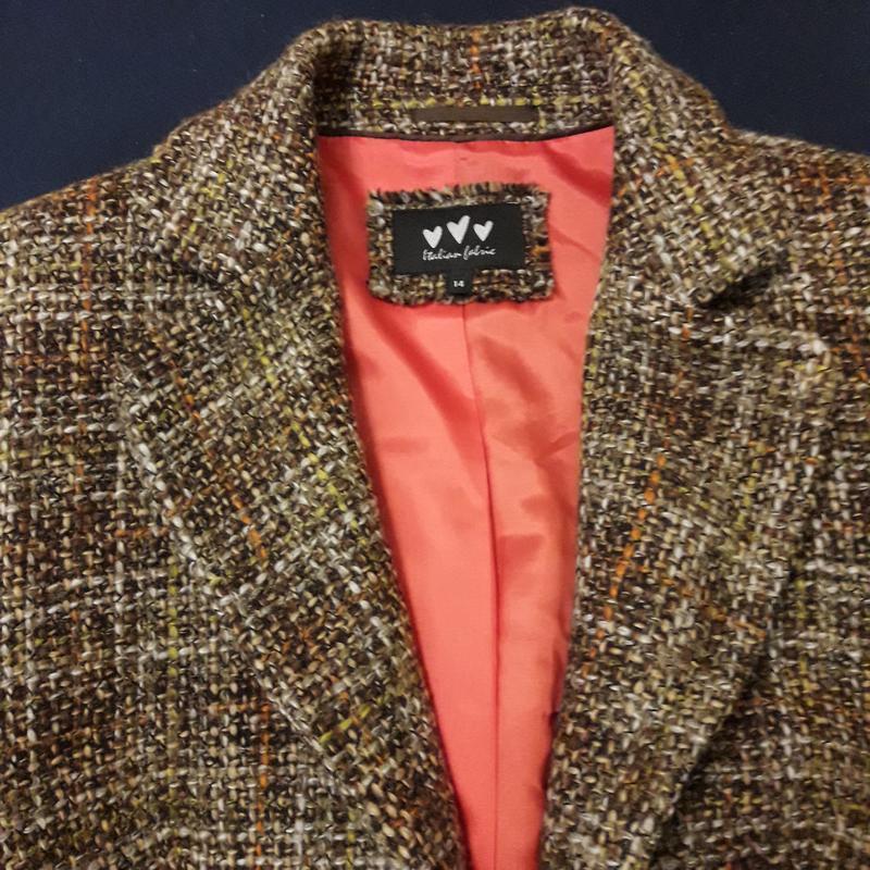 Шерстяной костюм юбка жакет пиджак - Фото 4