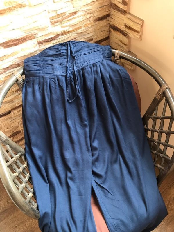 Стильные штаны брюки алладины свободного кроя с высокой посадкой - Фото 3