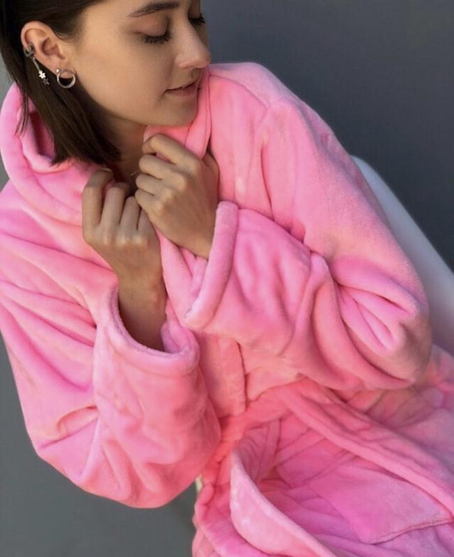 Плюшевый халат с персональной вышивкой - Фото 4