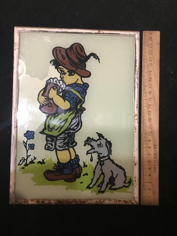Старое панно картина картинка под стеклом