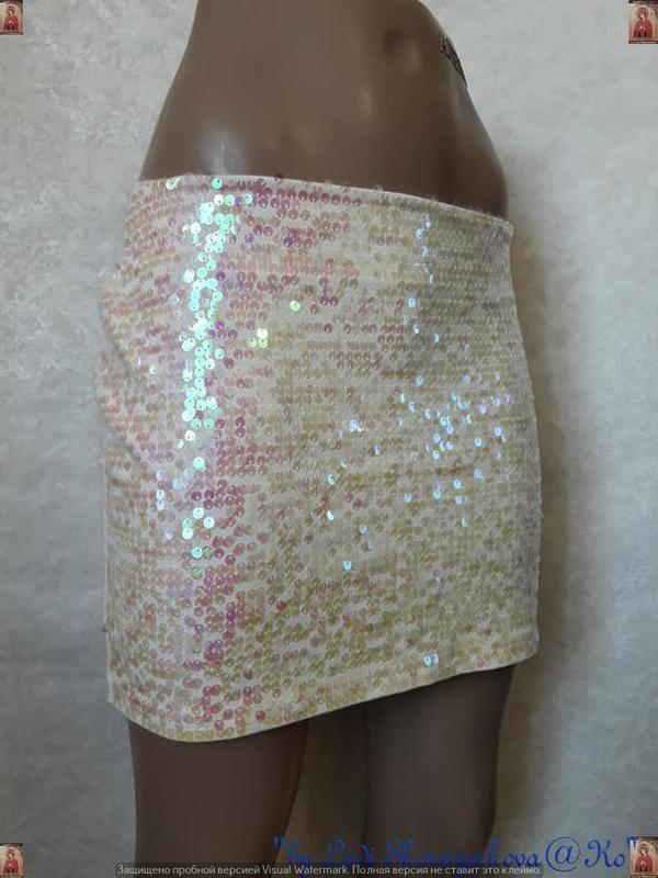 Фирменная topshop стильная модная мини-юбка в паетках, размер м-л - Фото 4