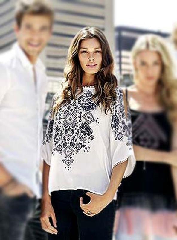 Женственная блуза бохо с принтом и рукавами с прорезями от тм ...
