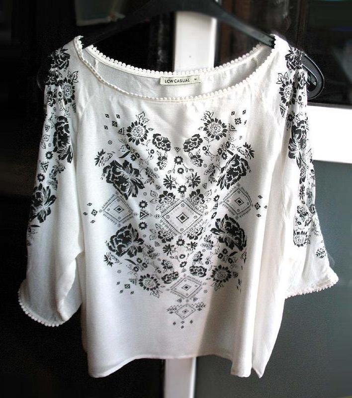 Женственная блуза бохо с принтом и рукавами с прорезями от тм ... - Фото 2