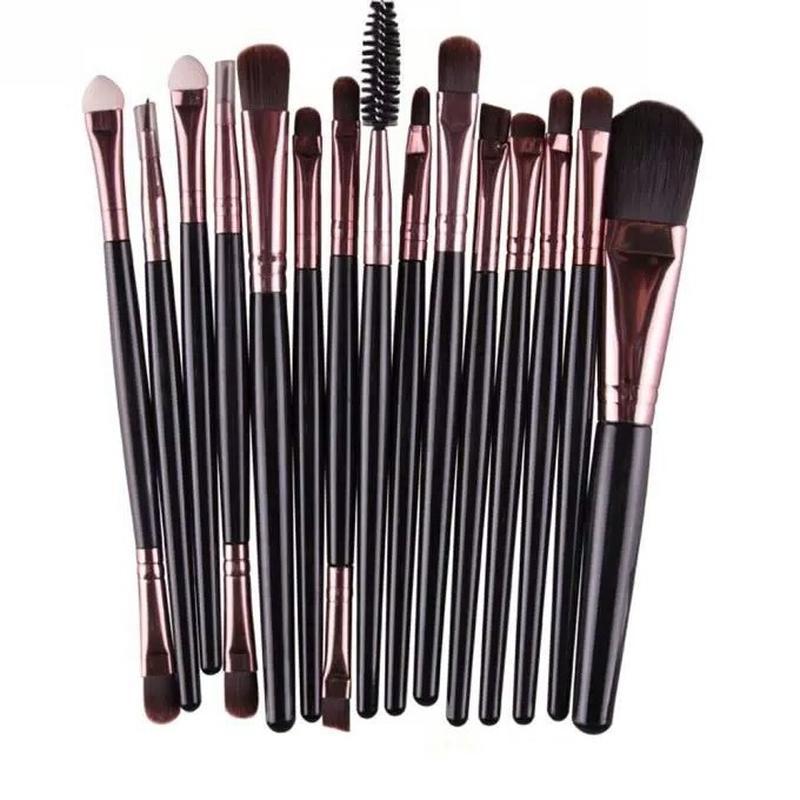 Акция ♥ кисти для макияжа набор 15 шт black/rosegold  длина ки...