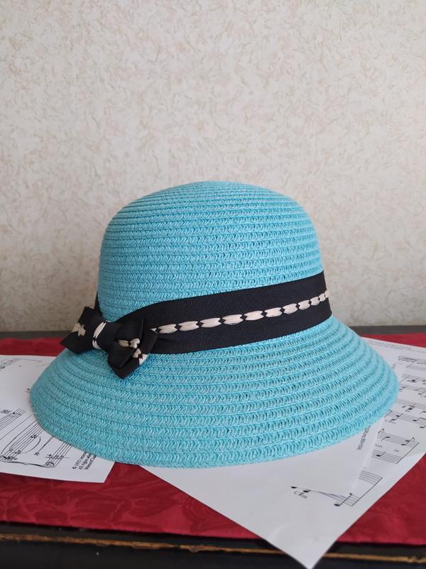 Летняя шляпа с полями  голубая пляжная шляпка  капелюх с бантом