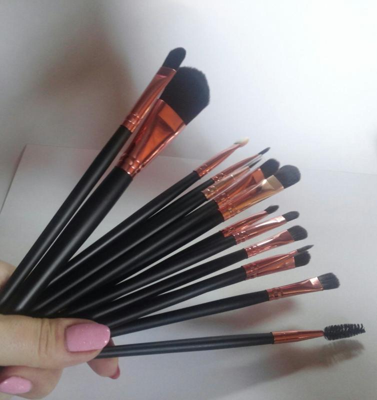 Акция ❤ кисти для макияжа набор 15 шт black/rosegold  длина ки...