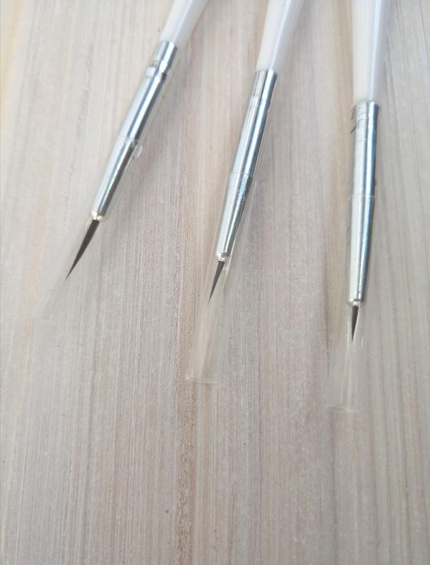 Кисти для маникюра 3 шт набор тонкие короткие - Фото 5