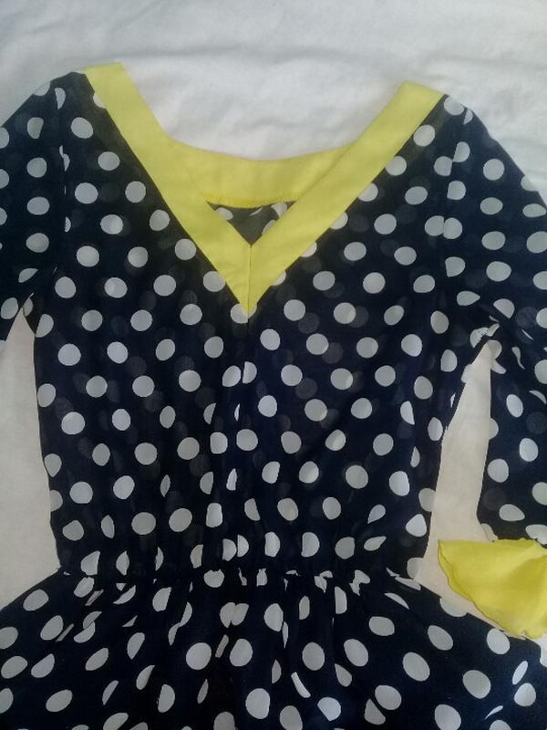 Лёгкое платье монро в горошек - Фото 4