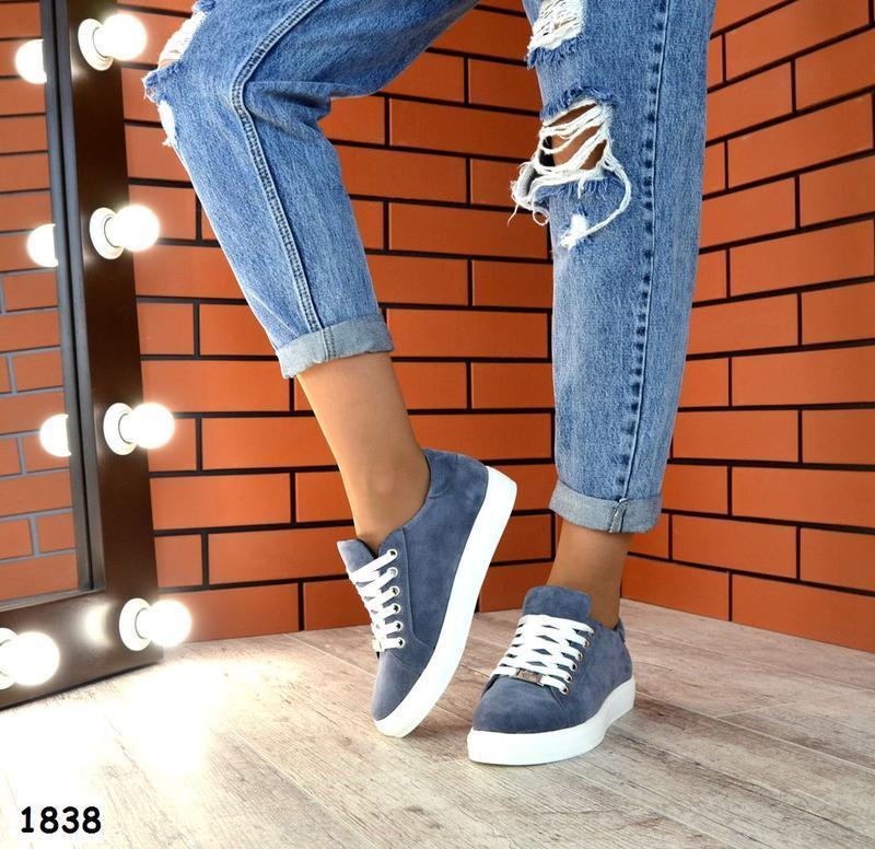 Натуральная замша базовые кроссовки кеды качество люкс