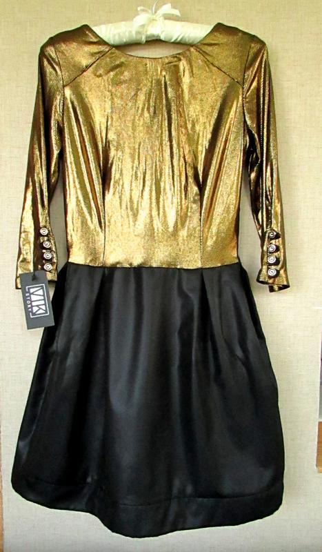Красивое блестящее нарядное платье черно-золотое - Фото 2