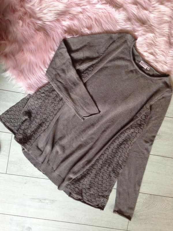 Свободный шерстяной шерсть джемпер свитер цвета какао